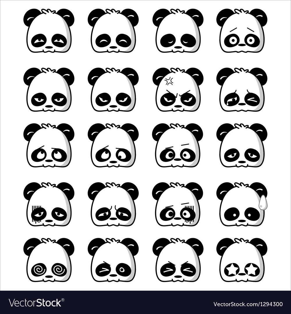 Emoticon panda vector | Price: 1 Credit (USD $1)