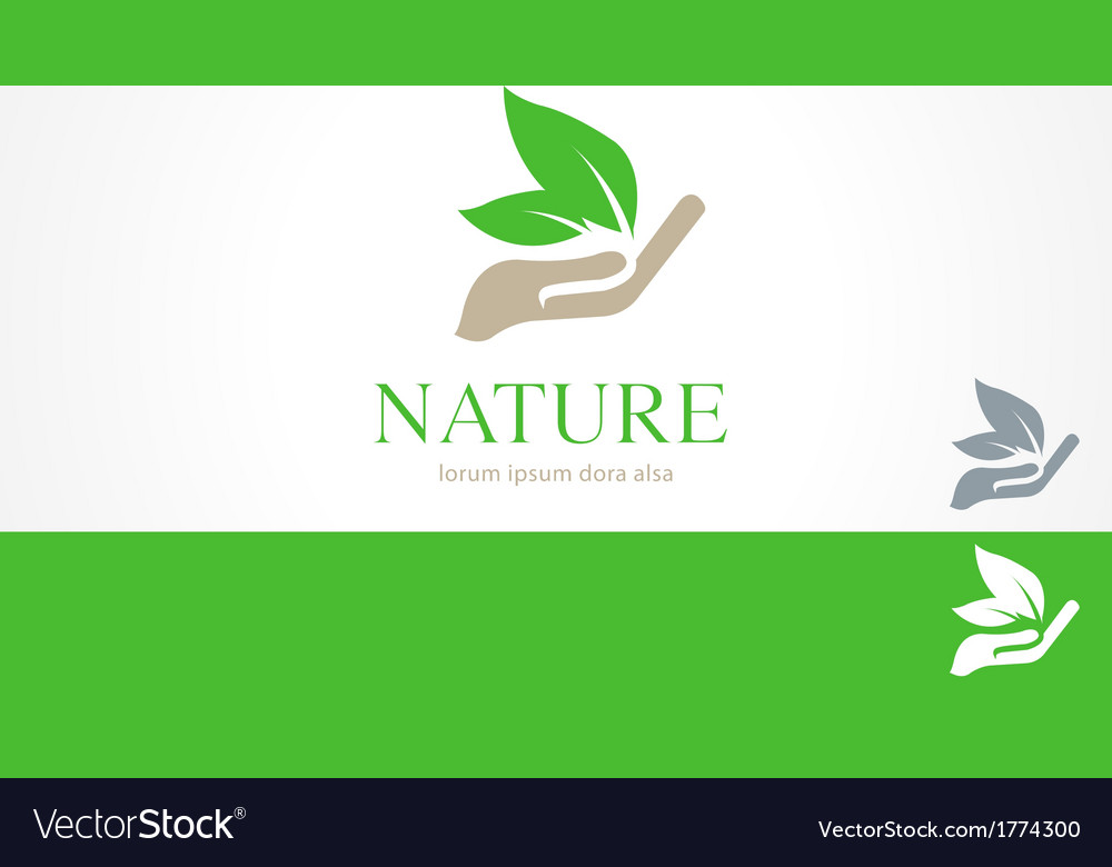 Hands leaf green nature natural logo template vector | Price: 1 Credit (USD $1)