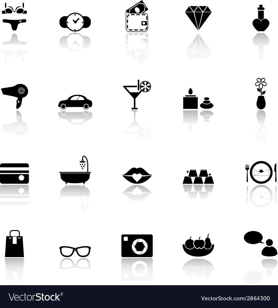 Lady related item icons with reflect on white vector | Price: 1 Credit (USD $1)