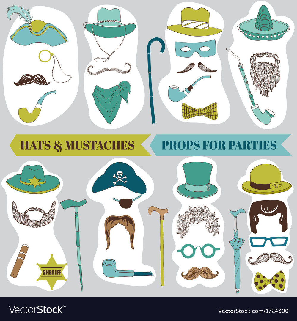 Photo booth party set - glasses hats lips mustache vector | Price: 1 Credit (USD $1)