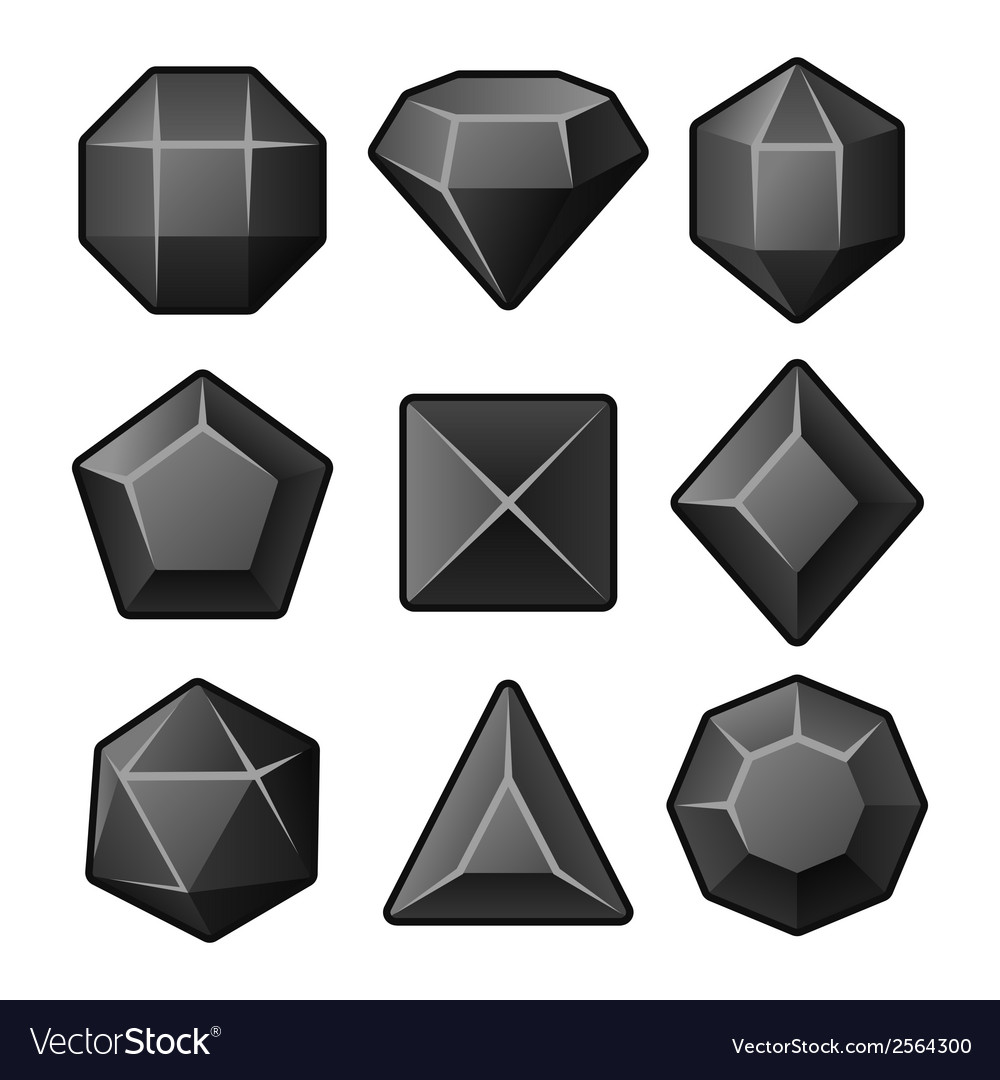 Set of black gems for match3 games vector | Price: 1 Credit (USD $1)