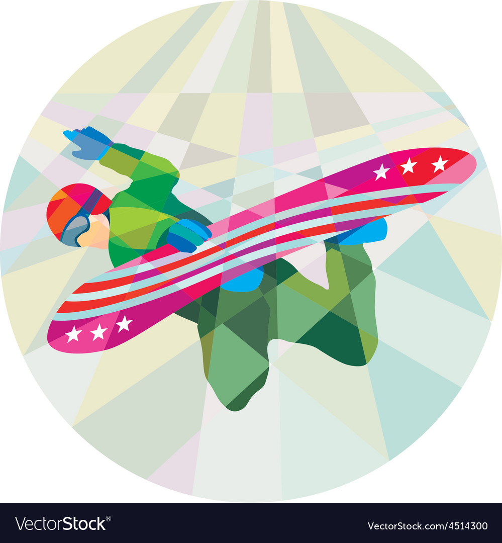 Snowboarder snowboard jumping low polygon vector | Price: 1 Credit (USD $1)