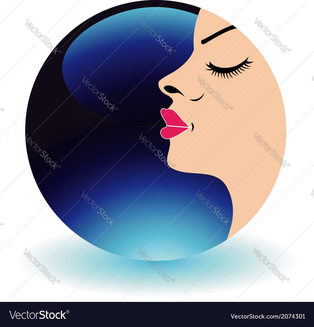 Blue moon lady- logo for beauty salons vector | Price: 1 Credit (USD $1)
