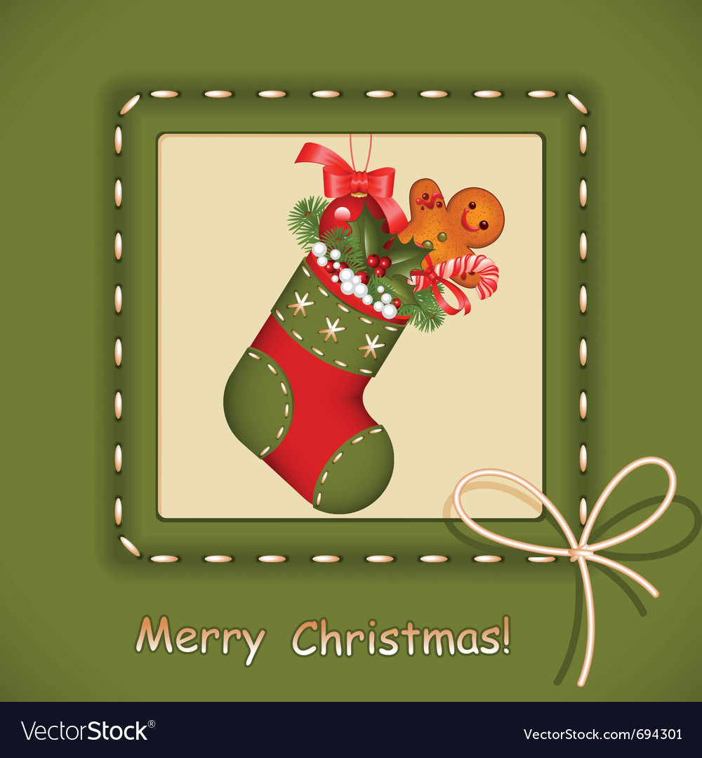 Christmas card stocking vector | Price: 1 Credit (USD $1)