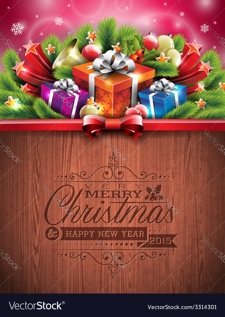 Engraved merry christmas typographic design vector | Price: 5 Credit (USD $5)