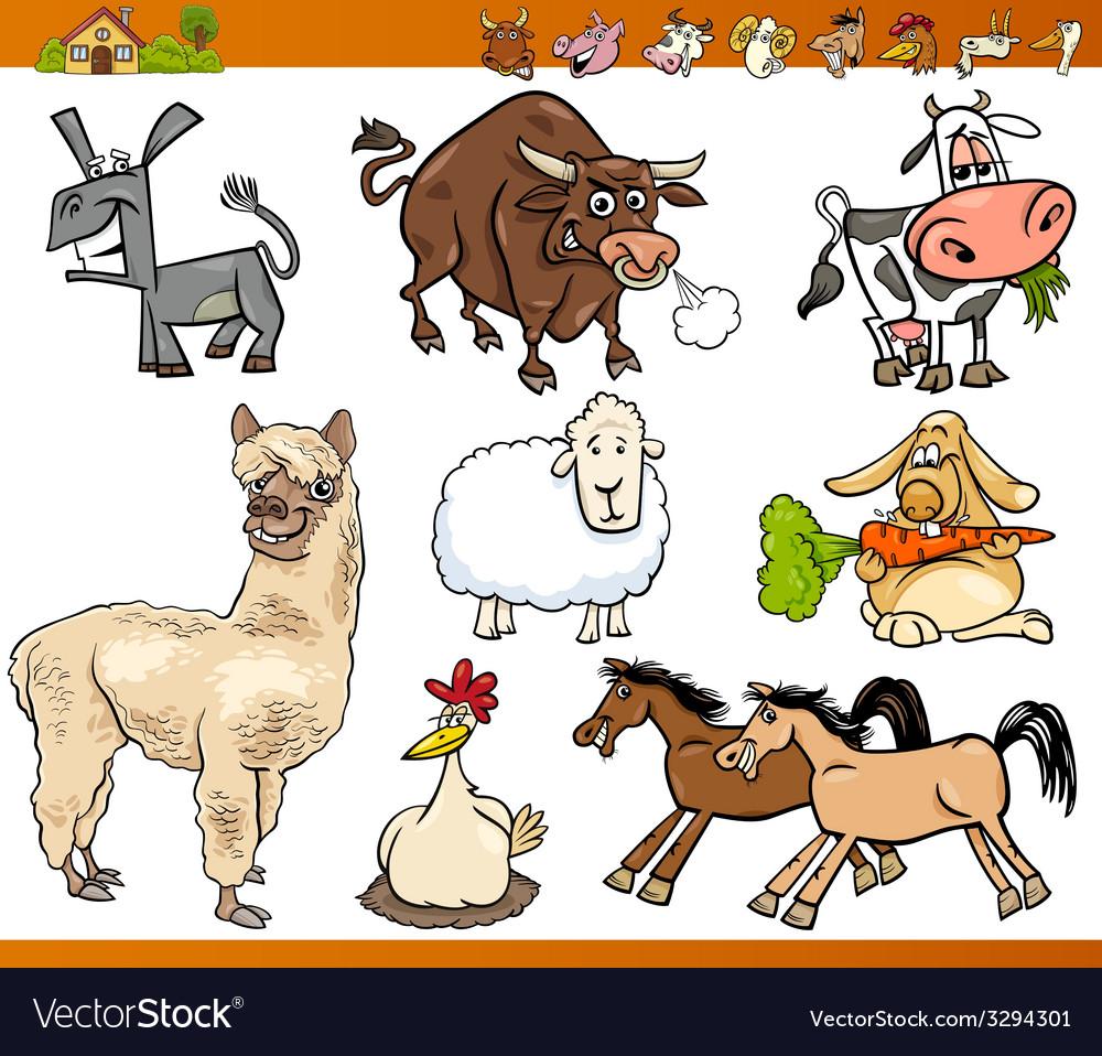 Farm animals set cartoon vector | Price: 3 Credit (USD $3)