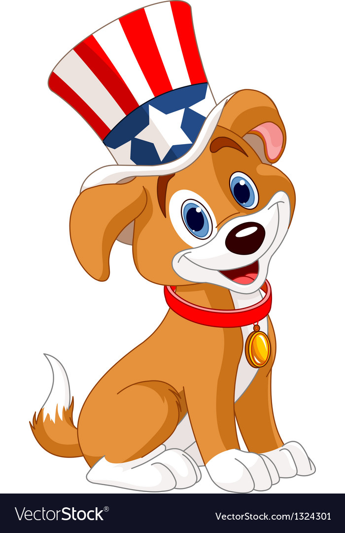 Fourth of july puppy vector | Price: 3 Credit (USD $3)
