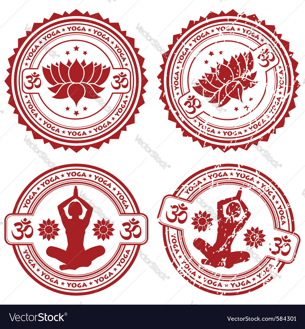 Grunge yoga stamps vector | Price: 1 Credit (USD $1)
