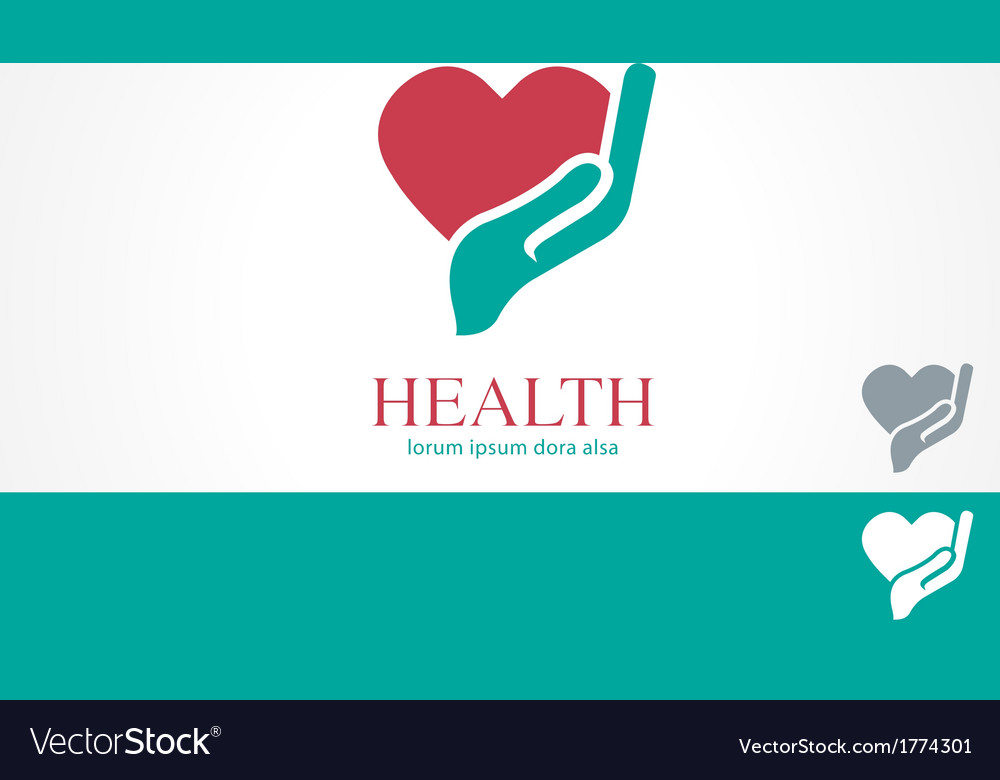 Hand heart wellness health design logo template vector | Price: 1 Credit (USD $1)