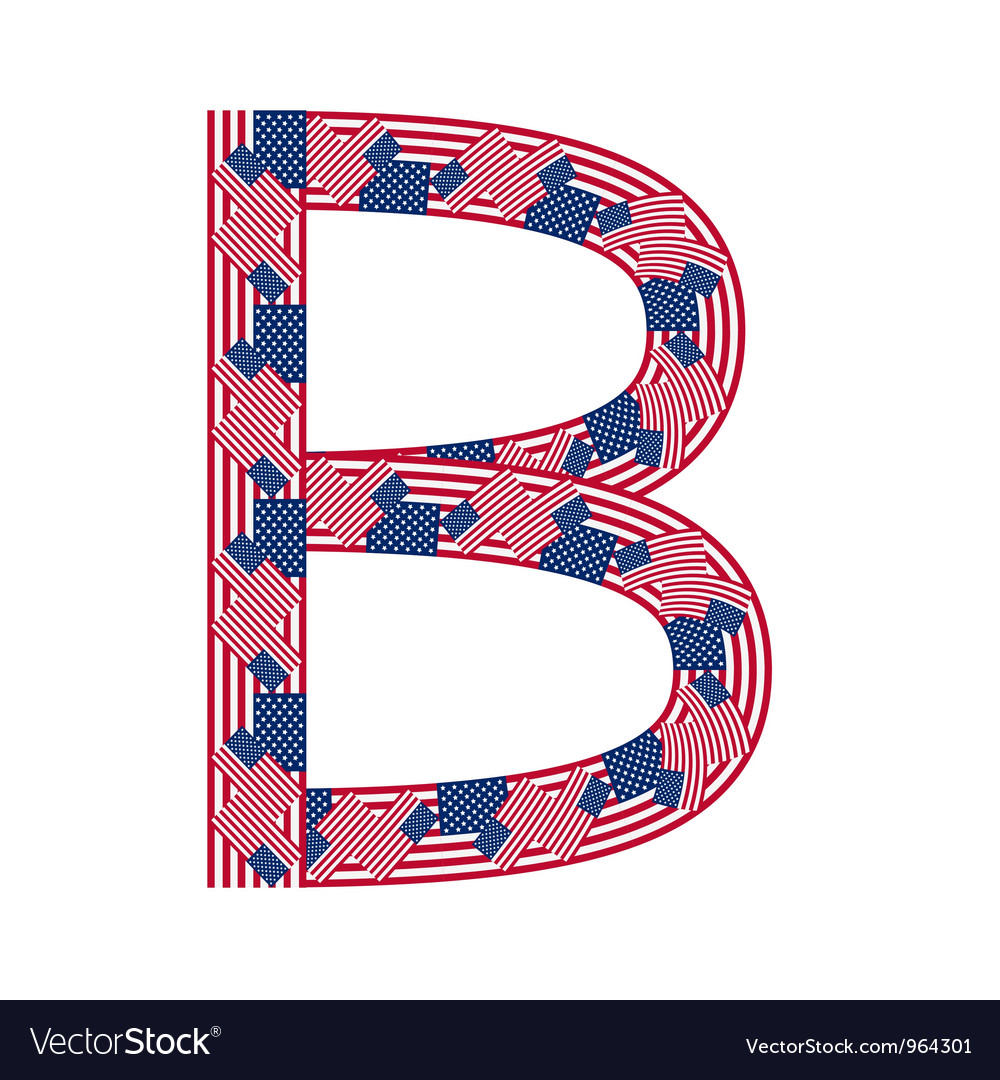 Letter b made of usa flags vector | Price: 1 Credit (USD $1)