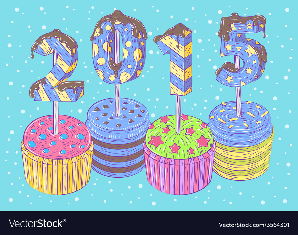 New years cupcakes vector