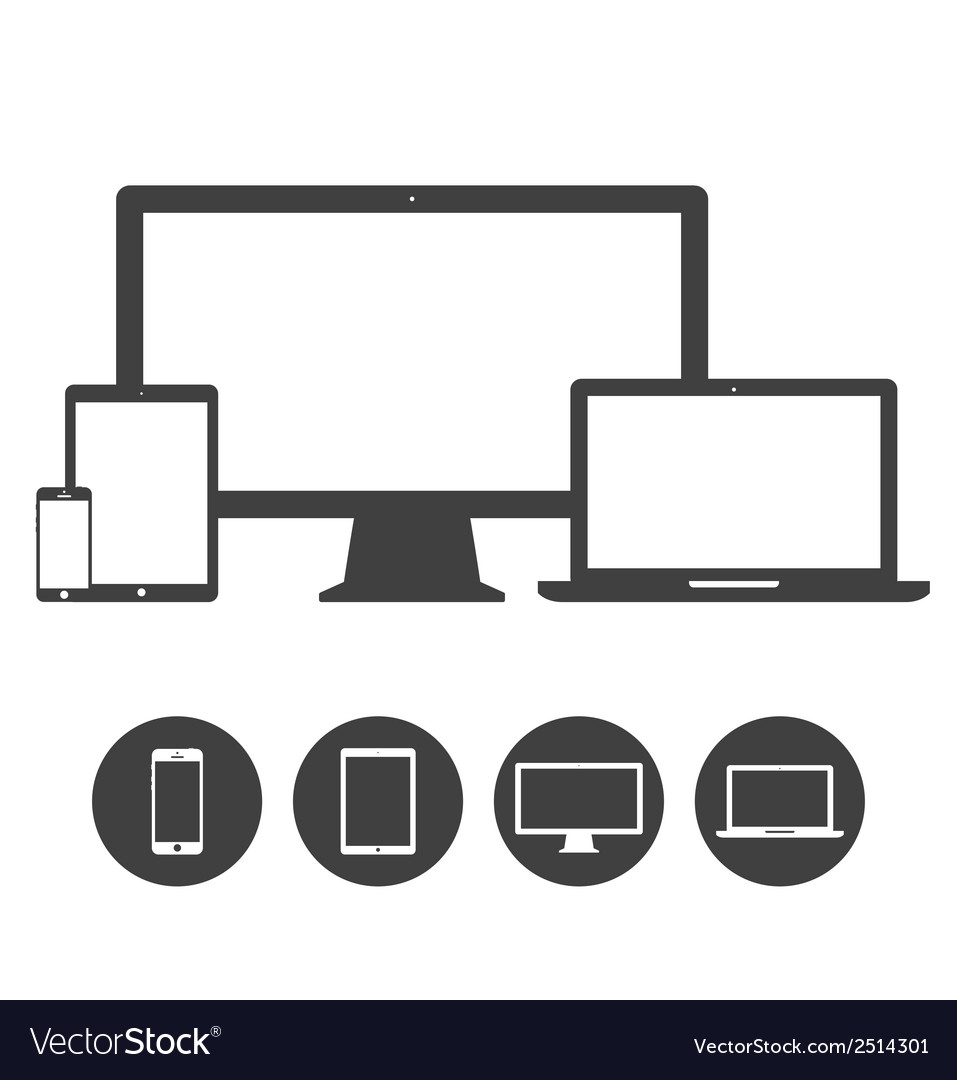 Set of display laptop tablet and mobile phones vector | Price: 1 Credit (USD $1)