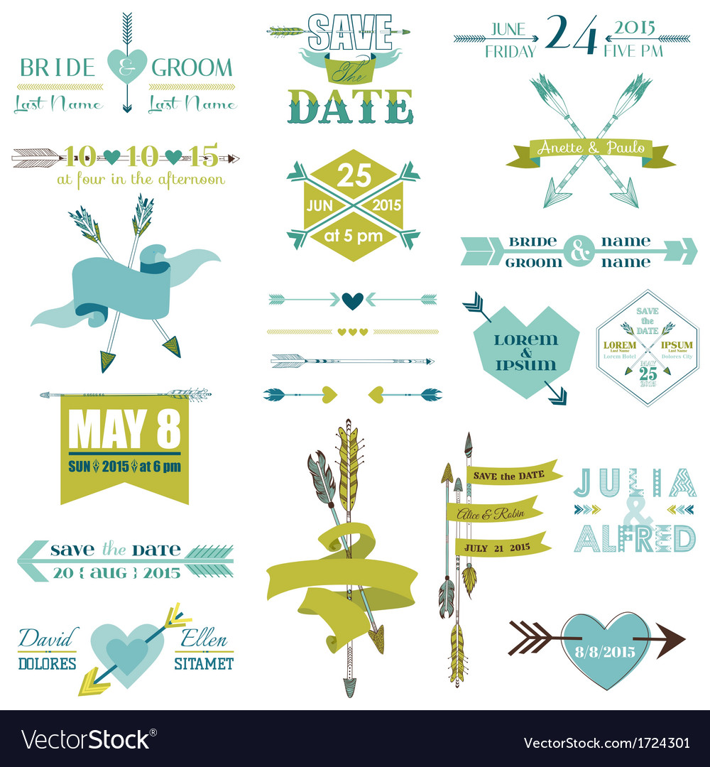 Wedding graphic set arrows feathers heart ribbons vector | Price: 1 Credit (USD $1)