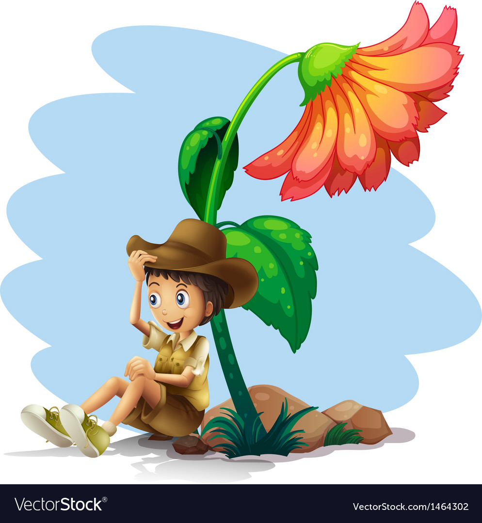 A boy wearing a hat sitting below the giant flower vector | Price: 1 Credit (USD $1)