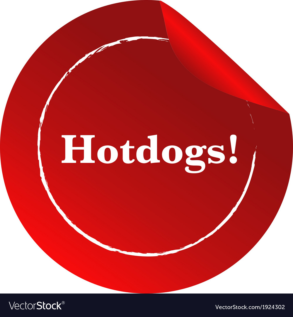 A red template with a hotdogs label vector | Price: 1 Credit (USD $1)