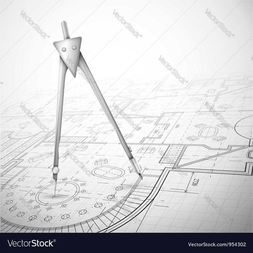 Architectural plan with compass vector | Price: 1 Credit (USD $1)