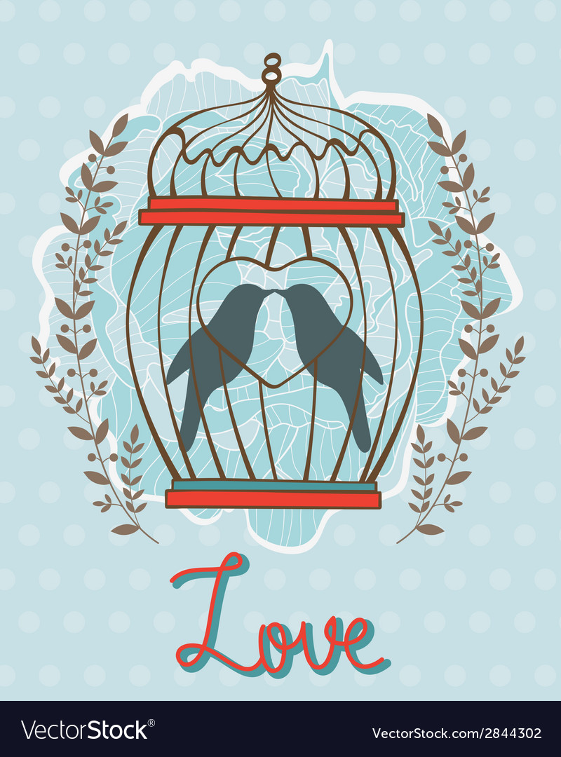 Beautiful love card with birds in cage vector | Price: 1 Credit (USD $1)