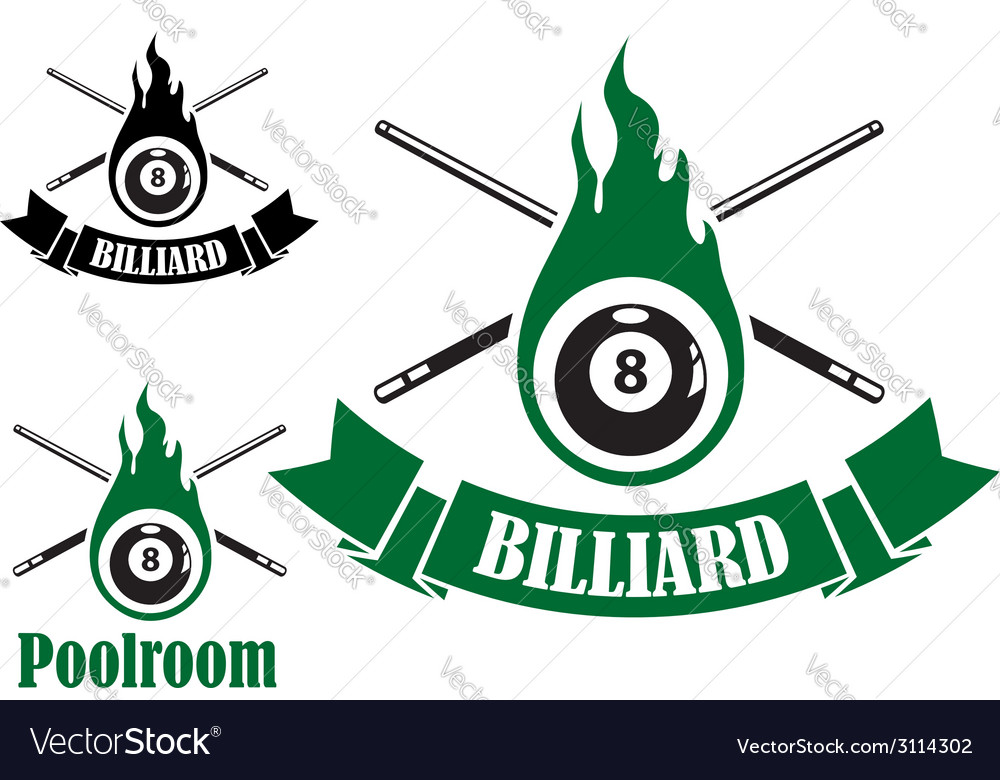 Billiard icons with crossed cues vector | Price: 1 Credit (USD $1)