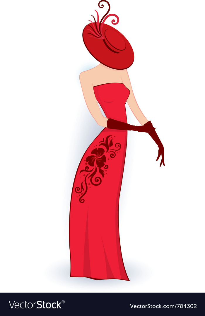 Classy lady in red dress vector | Price: 1 Credit (USD $1)