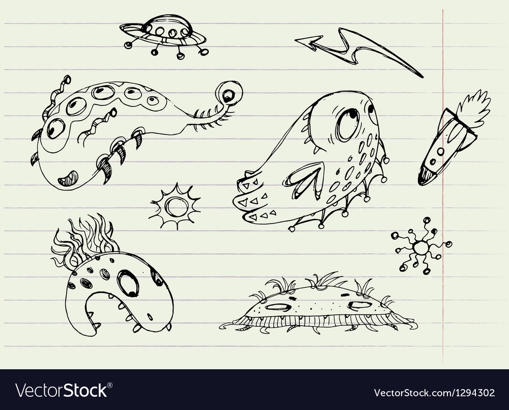 Collection of cartoon doodle monsters 1 vector | Price: 1 Credit (USD $1)