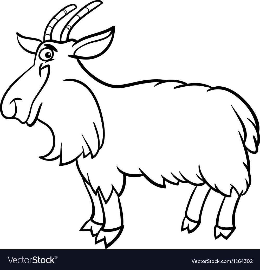 Farm goat cartoon for coloring book vector | Price: 1 Credit (USD $1)