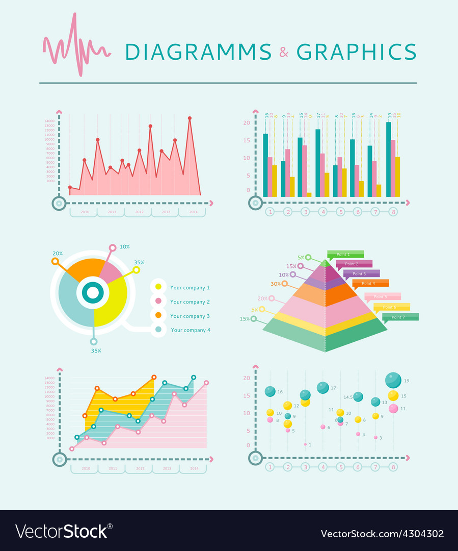 Infographic set elements graph and charts vector | Price: 1 Credit (USD $1)
