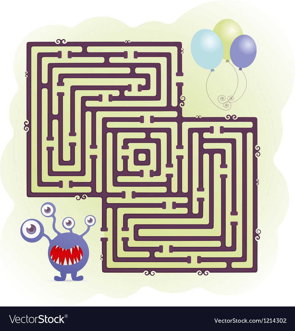 Monster maze vector | Price: 1 Credit (USD $1)