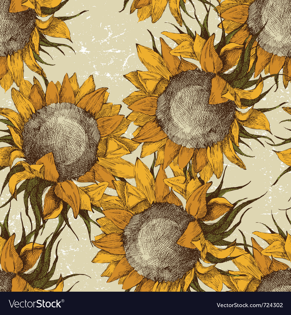 Seamless vintage sunflowers vector | Price: 1 Credit (USD $1)