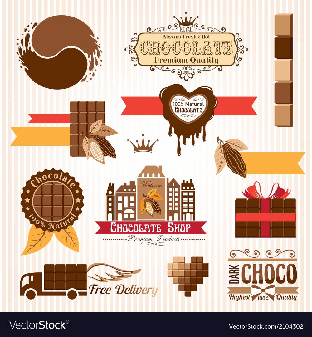 Set of chocolate decorative elements vector | Price: 1 Credit (USD $1)
