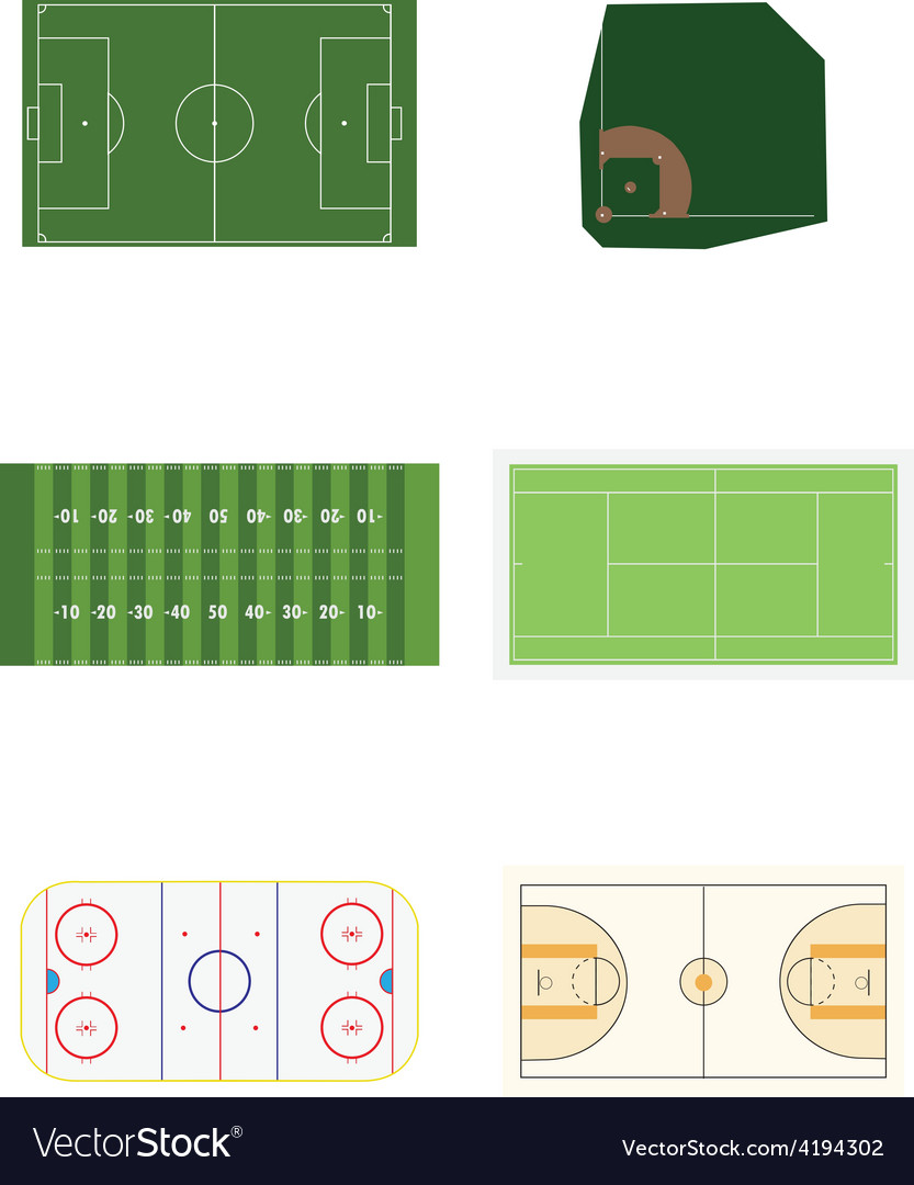 Six sports fields vector | Price: 1 Credit (USD $1)