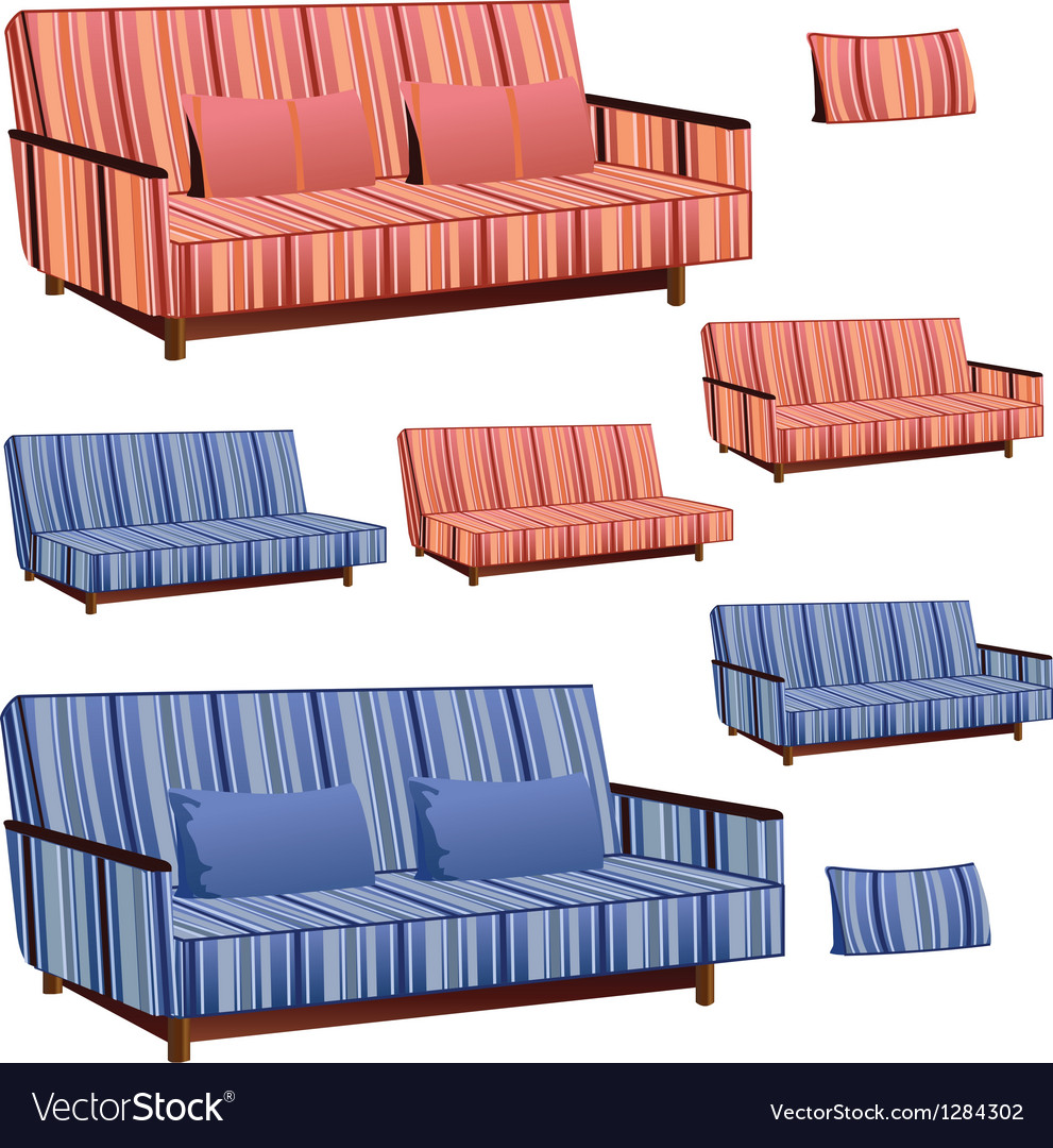 Sofa pink and blue stripped vector | Price: 1 Credit (USD $1)