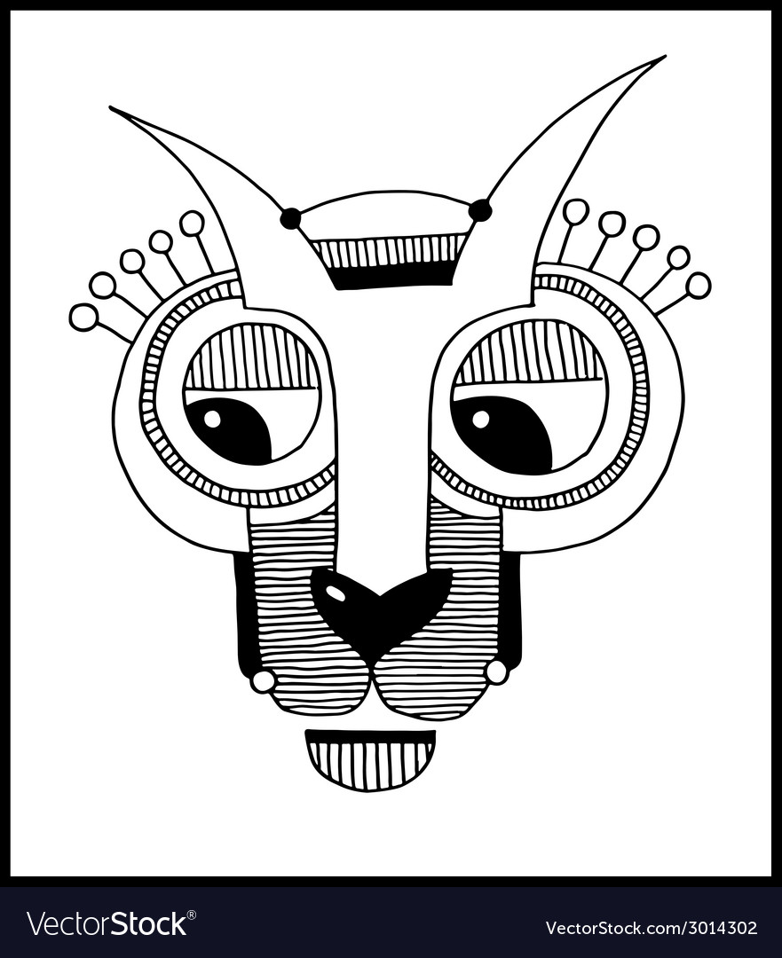 Unusual hand draw with a head of hare or rabbit vector   Price: 1 Credit (USD $1)