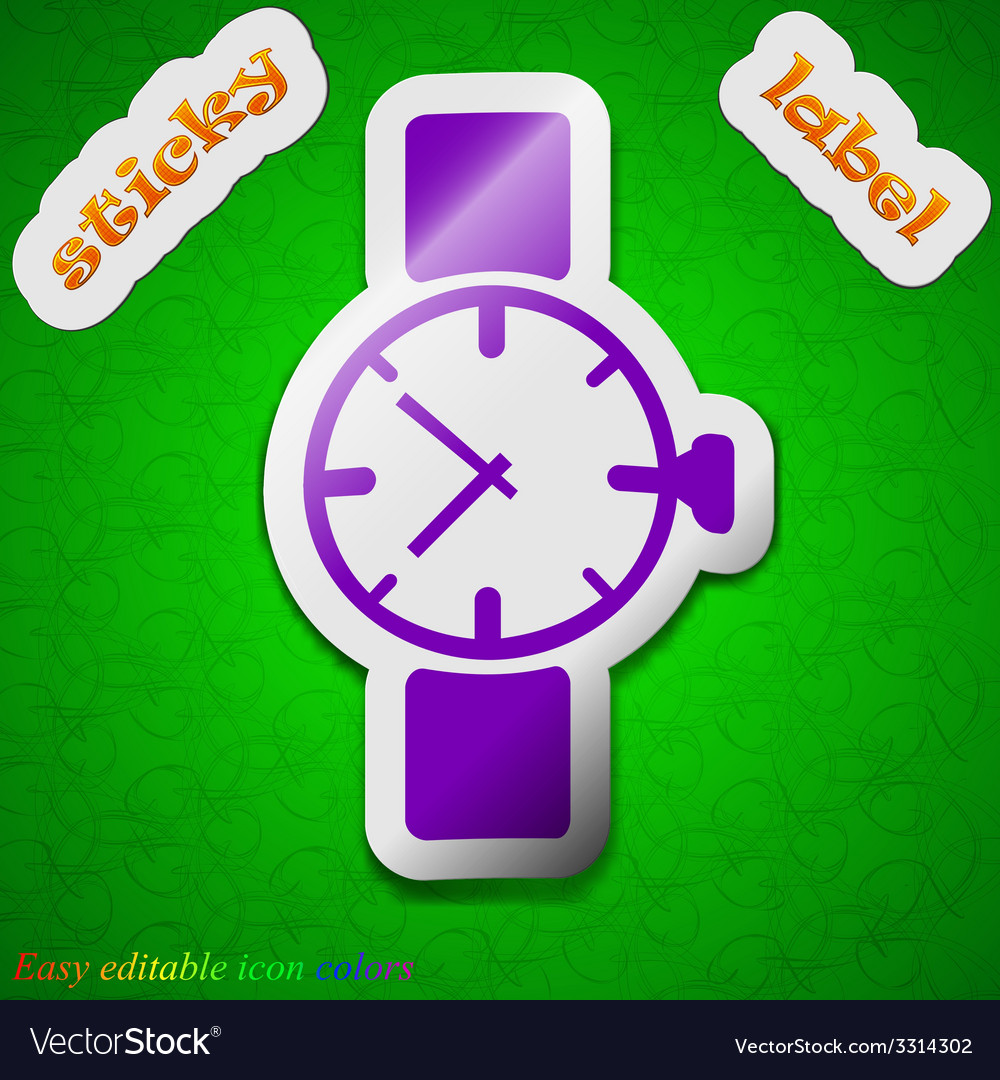 Wrist watch icon sign symbol chic colored sticky vector | Price: 1 Credit (USD $1)