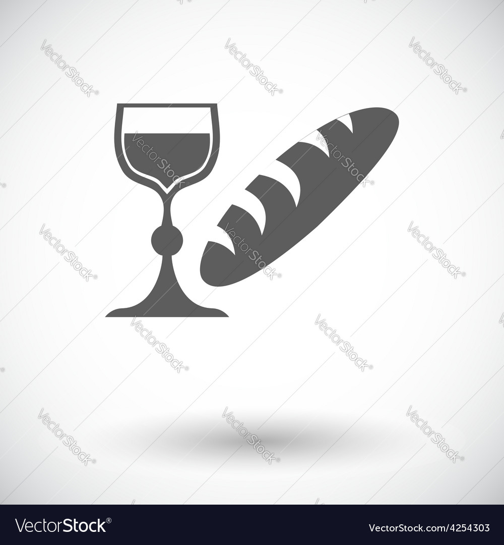 Bread and wine single icon vector | Price: 1 Credit (USD $1)
