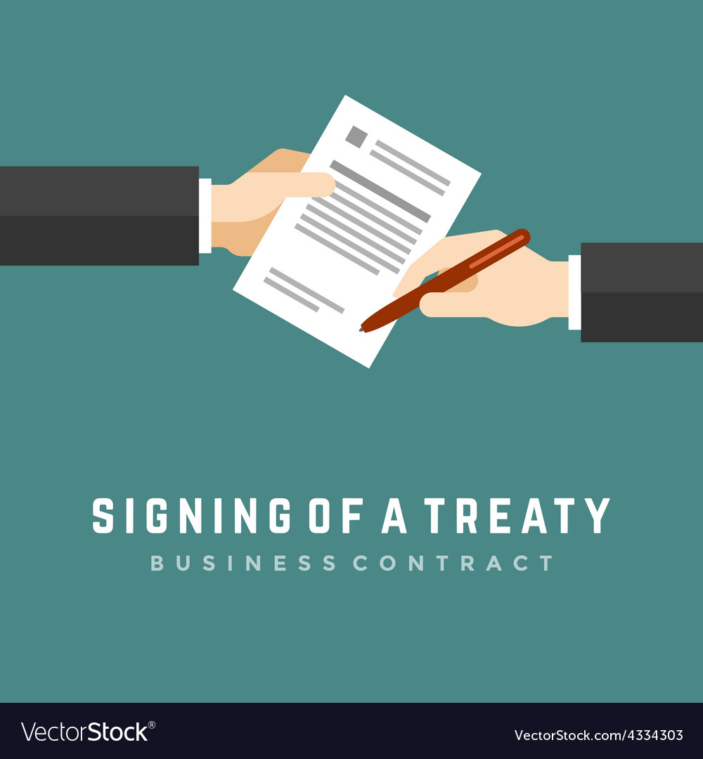 Business man hands holding contract and pen vector | Price: 1 Credit (USD $1)