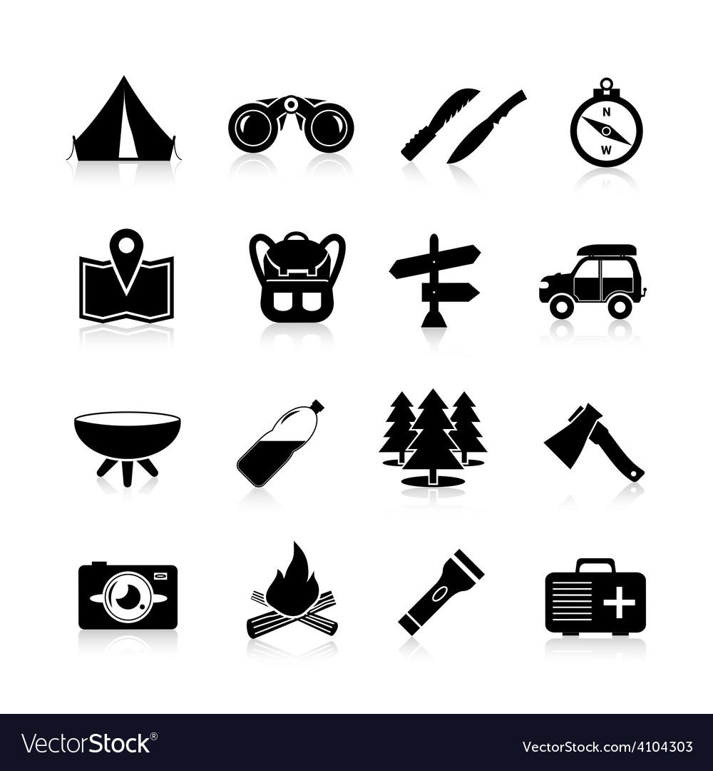 Camping icons black vector | Price: 1 Credit (USD $1)