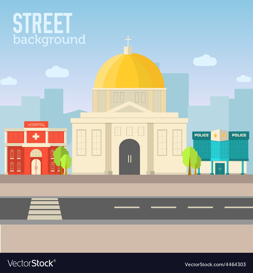 Church building in city space with road on flat vector | Price: 1 Credit (USD $1)