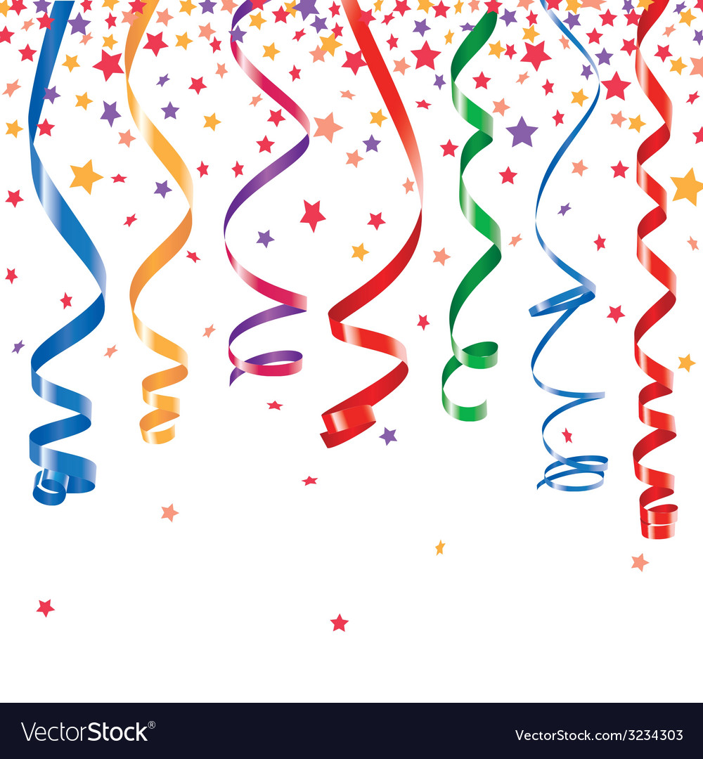 Curling ribbons party serpentine with confetti vector | Price: 1 Credit (USD $1)