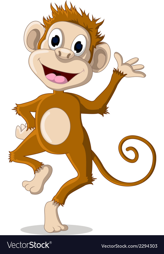 Cute monkey cartoon posing vector | Price: 1 Credit (USD $1)