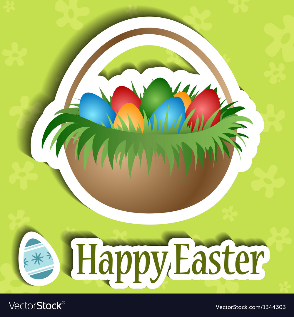 Easter card with basket and egg sticker vector | Price: 1 Credit (USD $1)