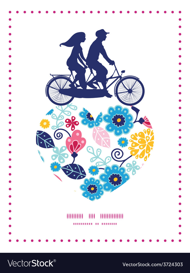 Fairytale flowers couple on tandem bicycle vector | Price: 1 Credit (USD $1)
