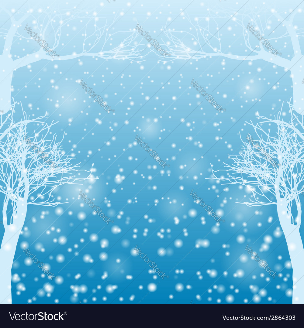Falling snow with bare trees vector | Price: 1 Credit (USD $1)