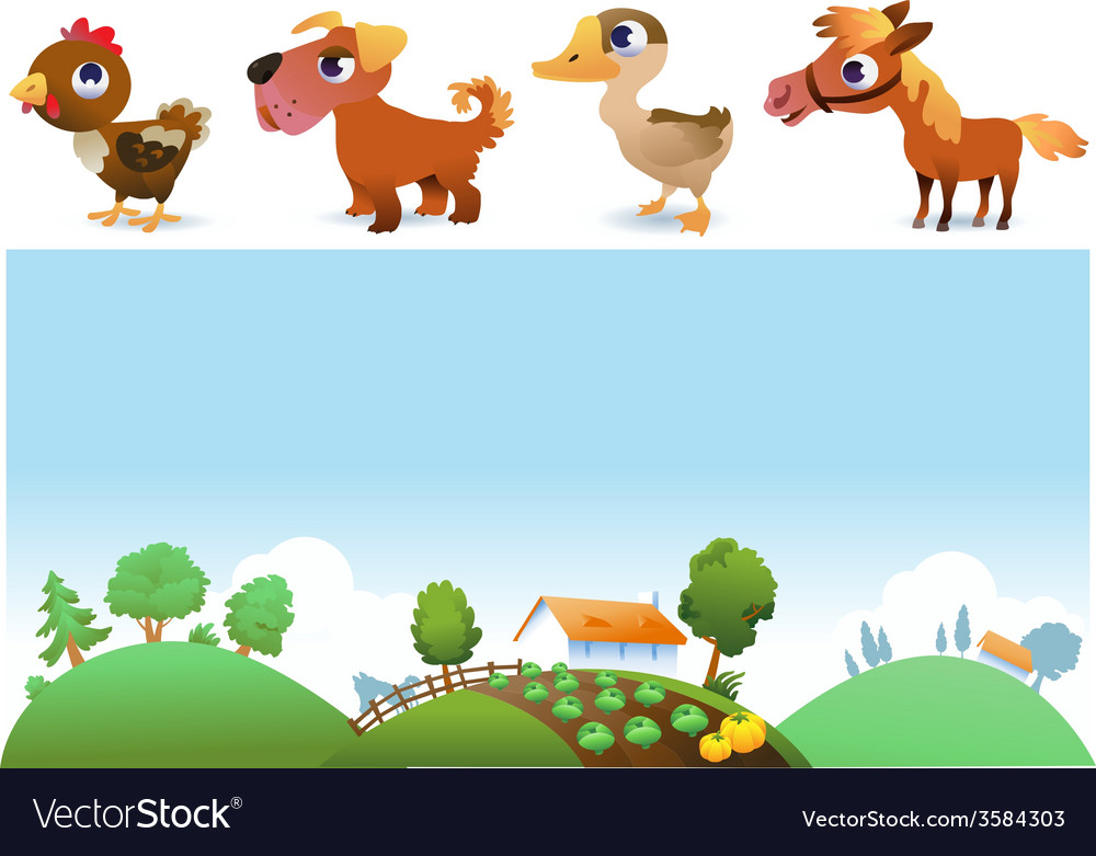 Farm landscape and animals vector | Price: 1 Credit (USD $1)