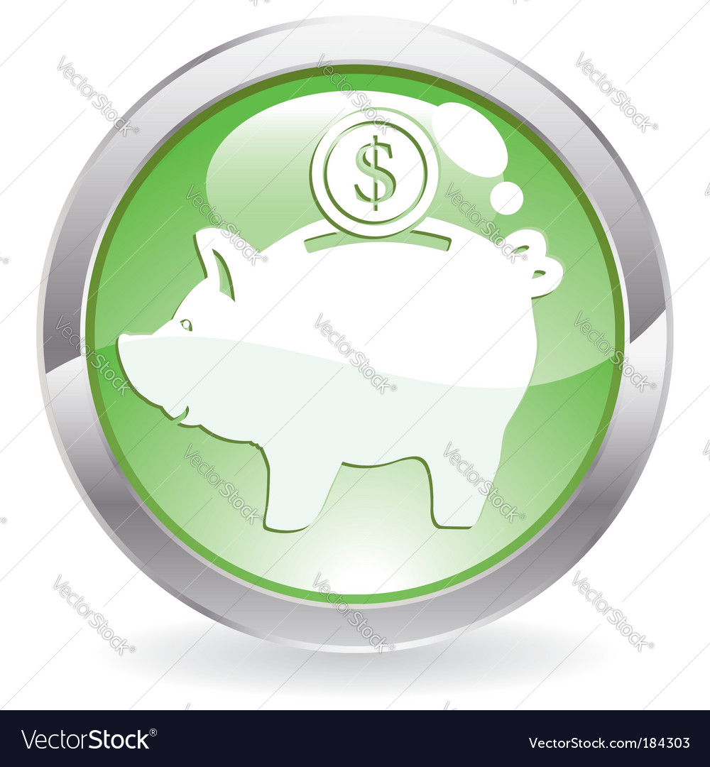 Gloss button with piggy bank vector | Price: 1 Credit (USD $1)