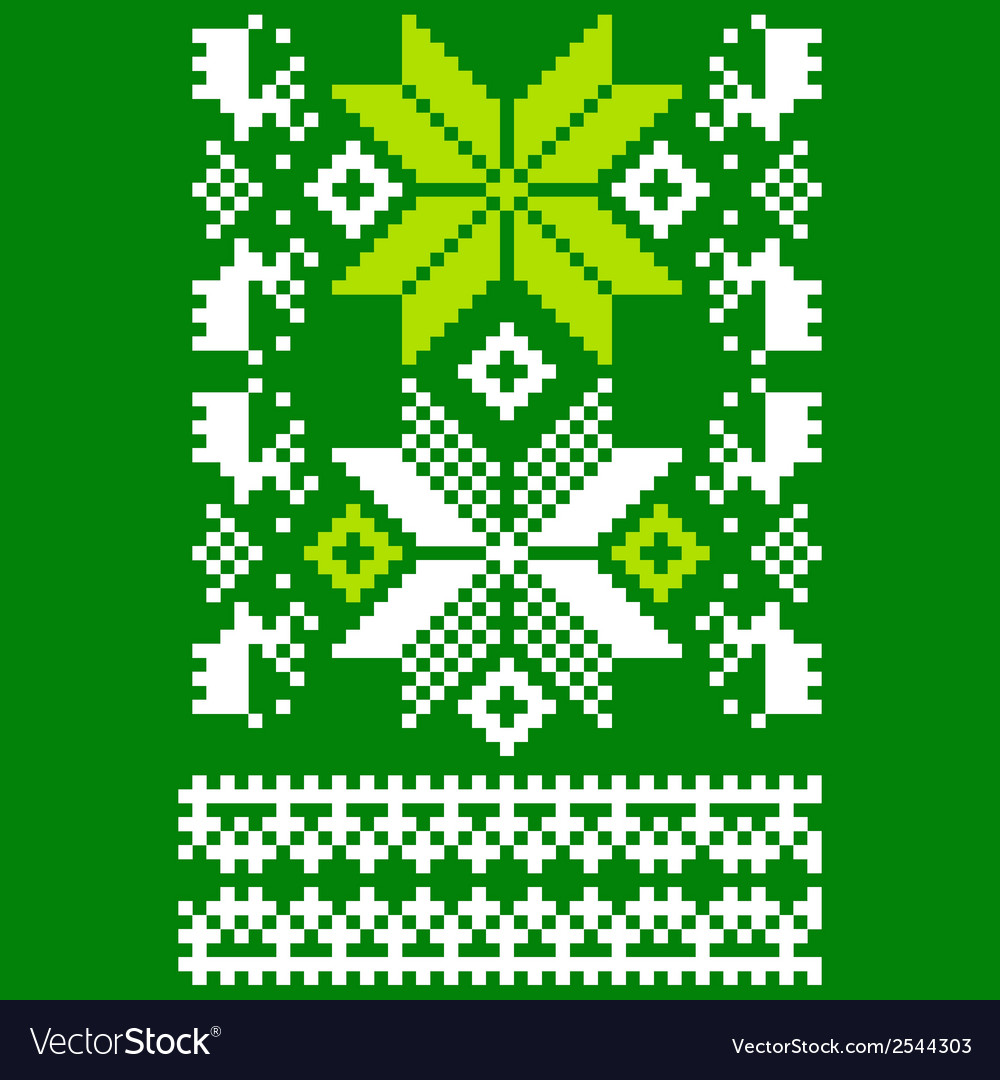 Green knitted scandinavian scarf vector | Price: 1 Credit (USD $1)