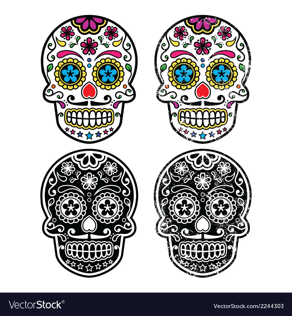 Mexican retro sugar skull dia de los muertos vector | Price: 1 Credit (USD $1)