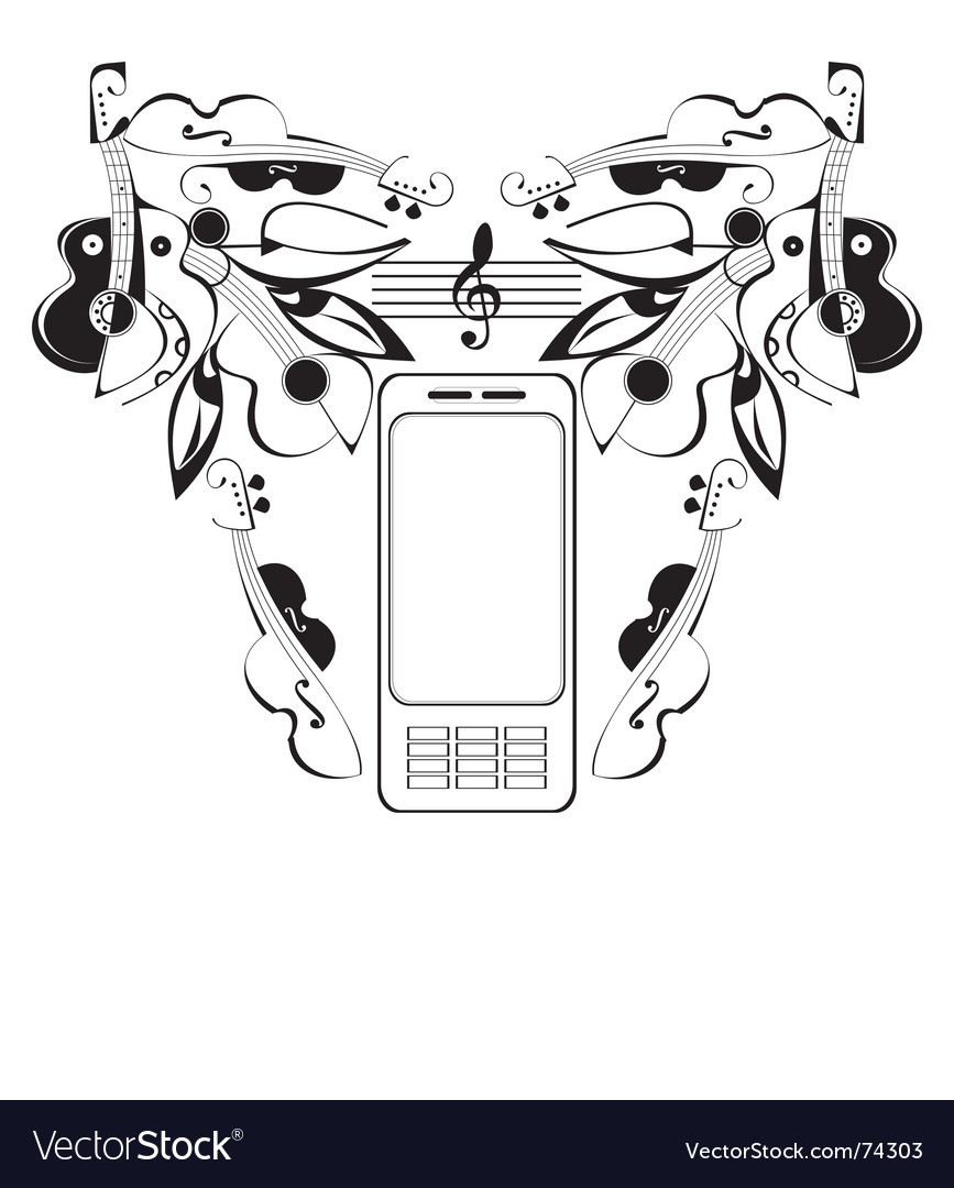 Mobile phone music vector | Price: 1 Credit (USD $1)