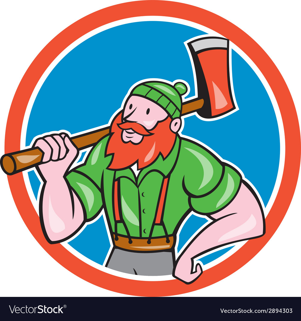 Paul bunyan lumberjack circle cartoon vector | Price: 1 Credit (USD $1)