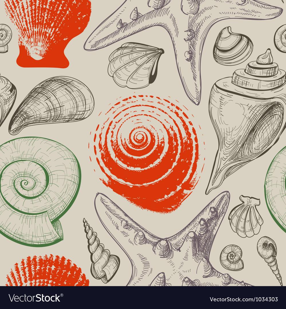 Sea shells retro seamless pattern vector | Price: 1 Credit (USD $1)