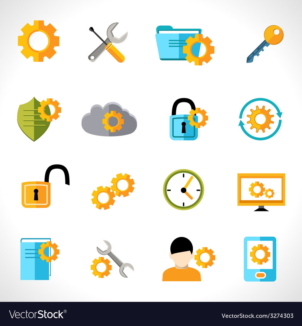 Settings icons flat vector